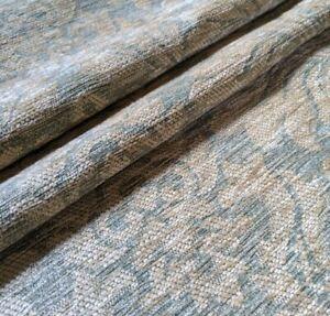 5.5M MULTIYORK Green Gold Damask Upholstery Cushion Chenille Fabric Material