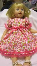 "Brt Pink Floral Print Dress,Fits 20"" LeeM/ Macie Toddler doll/19"" Regan Lm Doll"