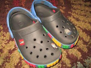 Crocs Unisex Kids Multicolor Lego Slip On Size J 2 Black w/ Jibbitz ~~Ships FREE