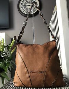 Lovely Coccinelle genuine tan leather shoulder Bag, Handbag