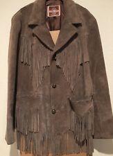 Pioneer Wear Vintage Taupe Suede Leather Fringe Jacket Western. Mens 44.