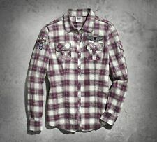 Harley-Davidson Women's Patch Winged Cycle Plaid Shirt Long Sleeve Blouse Top L