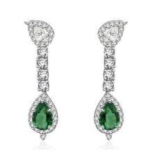 1ct Pear Cut Green Emerald Royal Straight Drop Earring Women 14k Solid WhiteGold