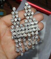 Fine Handmade Natural Uncut Diamond Polki 925 Sterling Silver Earrings Jewelry