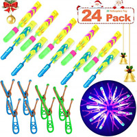 Rocket Helicopters 24 Piece With Led Lights For Kids 12 Slingshot Amazing Arrow
