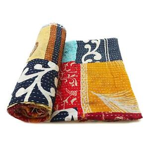 patchwork Kantha Quilt Handmade Indian Cotton Couch Cover Blanket Bedding Throw