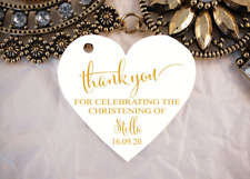 10 White Gift Tags Baptism Christening Personalised Thank you Favour Bomboniere