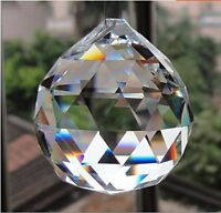 Clear Crystal Hanging Faceted Ball Prism, 50mm, 1 Piece