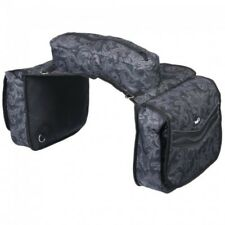 Tough-1 Elite Insulated Saddle Bag Black Tooled Leather Fun Print Horse Tack