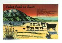 Colorado Pikes Peak Or Bust Linen Vintage Postcard