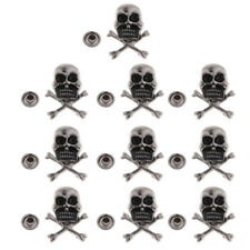 10 Sets Metal Skull Rivets Studs Leathercraft Punk for Bags Jeans Belt Decor