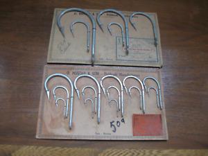 Old Mustad Key Brand Fishing Hook Sample Display,Tarpon & Sea Hawk,Vintage Tool