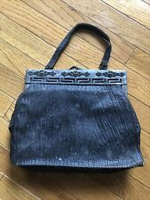 Antique black Walrus leather purse with metal top