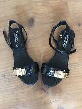 Michael Kors Black Sandals Leather Shoes size 6M Silver