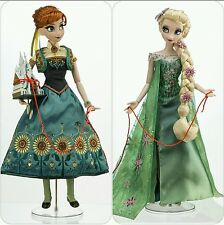 "Disney Store Exclusive Anna/ Elsa Limited Edition Frozen Fever 17"" Dolls"