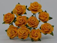 50 YELLOW GOLD ROSE (1.5cm) Mulberry Paper weddings crafts cardmaking