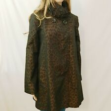 GALLERY Women's Black Brown Leopard Print Long Trench Coat Rain Nylon Poly Snap