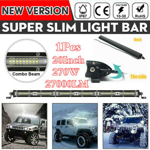 "Single Row 20"" 270W  LED Work Light Bar Offroad Spot Flood Beam 6000K White Slim"