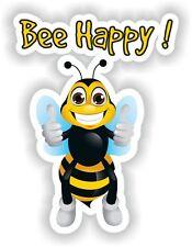 Bee Happy Funny Sticker For Car VanTruck Helmet Laptop Tablet Bike Door PC