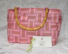 PINK STRIPED WOVEN RIBBON PURSE BAMBOO HANDLE, K Pink Fabric Stripes Ribbon $84
