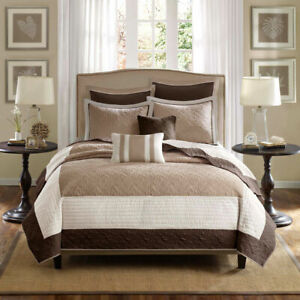 NEW! ~ ELEGANT CHIC COTTAGE IVORY WHITE BROWN BEIGE TAUPE TAN SOFT QUILT SET