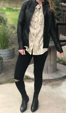 NEW SPANX Fashion Women 50158R Faux  leather Moto jacket black