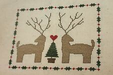Finished Completed Cross Stitch Natural Christmas Xmas Reindeer Tree Piece