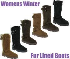 Block Heel Slip On Boots Women's Fur