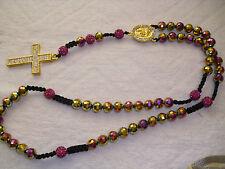 Shamballa Crucifix cross Necklace - Dark Pink + Gold colour & Diamante Cross