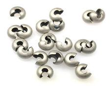 50 Antique Silver / Gunmetal Crimp Bead Knot Covers 5MM