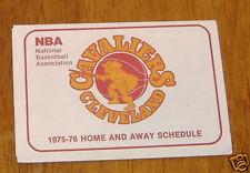 cleveland cavaliers pocket schedule 1975- 76  NBA