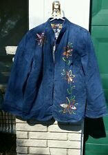 Embroidered Denim Jacket plus sz.18/20 open front Alfred Dunner floral dark wash