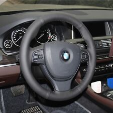 1 set All Black Leather Wrap Steering Wheel Cover Stitch on For BMW 525li 2014