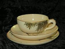 Vintage Japanese Porcelain Trio Bamboo Pattern Hand Gilded Highlight 1930s