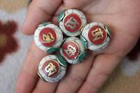 BD072 Handmade Nepal Loose Beads Shell Tibet Mantra Om Oblate Spacer Beads 5 PCS