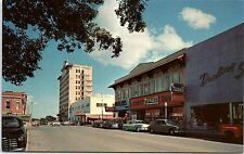 1950s Postcard Lakeland FL Main Street East 50s Old Cars Coca Cola Sign Rexall