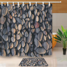 Stone pebble pattern Fabric Waterproof Shower Curtain 70 Inch Bathroom Mat Hooks