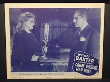 Crime Doctor's Man Hunt Warner Baxter 1946 orig Lobby Card # 3 Fine Doctor