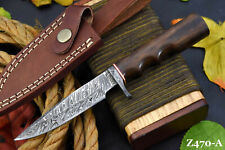 Custom Damascus Steel Hunting Knife Handmade With Walnut Handle (Z470-A)