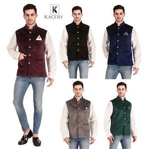 Men's  Indian Velvet Waist Coat Nehru Jacket Wedding Pakistani Koti MJ770