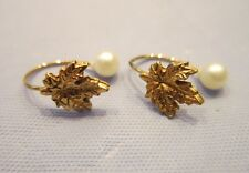 EARRINGS TWO GOLD TONE METAL CLIP ON FAKE WHITE PEARL JEWELRY LEAF DESIGN STYLE
