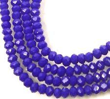 100 Czech Glass Faceted Rondelle Beads - Cobalt Blue 3x2mm