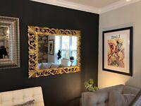 "Italian Rococo antique 19th Century Florentine Carved Giltwood Mirror 44"" x 35.5"