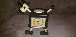 1970's Alarm Table Clock Plastic Cow with Rodeo and Cow Alarm Noises