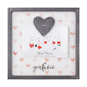 You & Me Love Photo Holder Wooden Wall Mount or Free Standing Hearts NEW