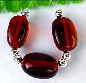 3Pcs 17x12x9mm Brown&red Crystal Oval Height Holes Bead BT93675
