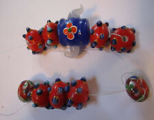 Glass bead Strand jewelry making craft supplies handmade Wild Textured red blue