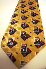 Bass yellow Necktie Silk Giometric Italian