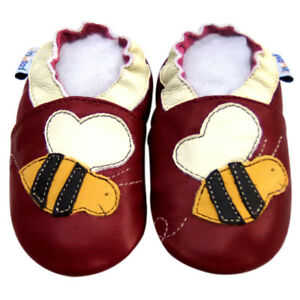 Baby Shoes Soft Sole Leather Infant Toddler Child Kid Mocassin BeeBurgundy 0-6M