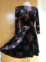 Ladies NEW LOOK Dress Size 10 Black Velvet Floral Skater Smart Party Evening